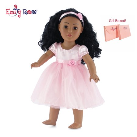 18 Inch Doll Clothes | Pink Easter Tutu Doll Dress, Includes Matching Rosette Headband | Fits American Girl Dolls Heart Dress 18 Doll Clothes