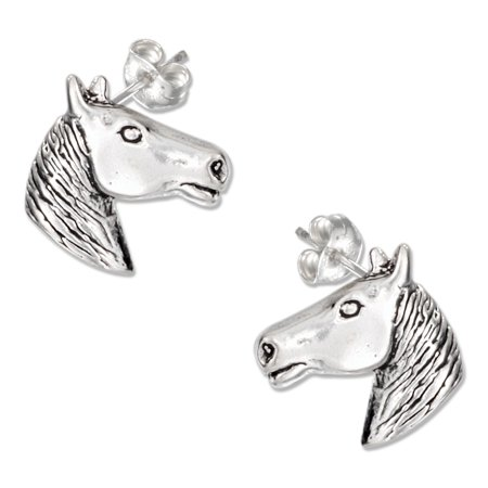 STERLING SILVER MINI HORSE HEAD EARRINGS ON STAINLESS STEEL POSTS AND NUTS