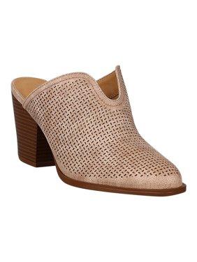 Women Leatherette Almond Toe Stacked Chunky Mule Heel 18213