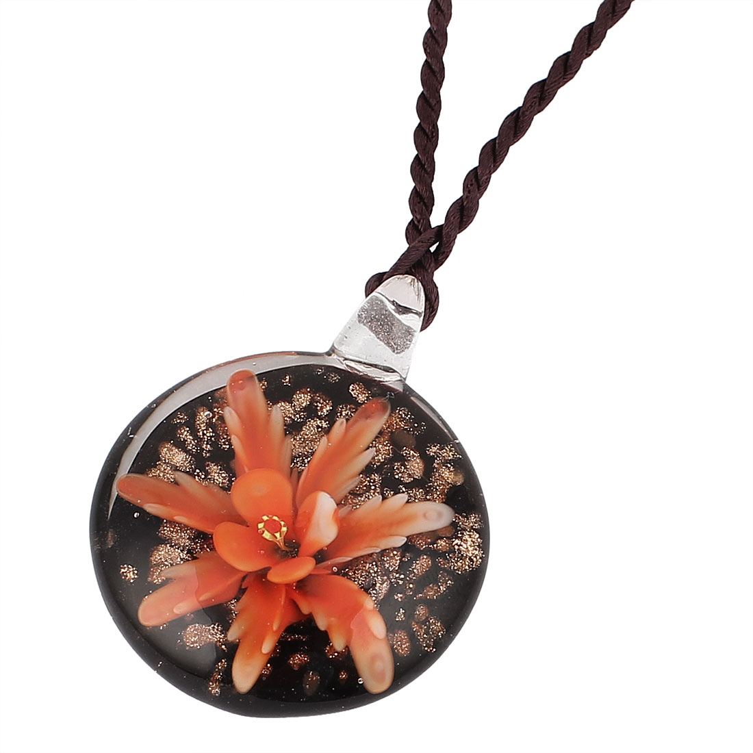 Glass Rhinestone Oval Shape Flower Pendant Necklace Orange Black for Lady - image 3 of 3