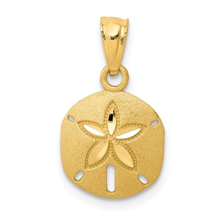 Roy Rose Jewelry 14K Yellow Gold Satin Diamond-cut Sand Dollar Pendant