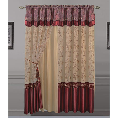 All American Collection Long Layered Sheer Embroidered Curtain
