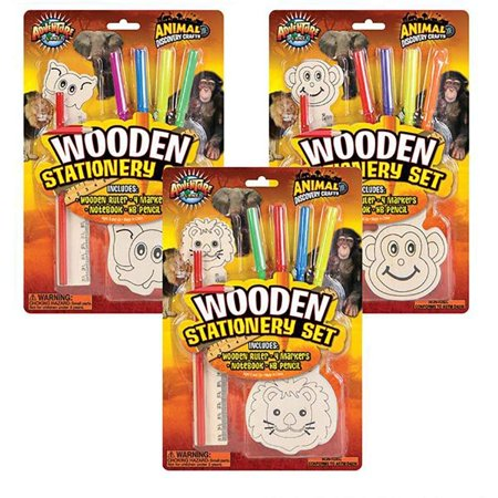 Wooden Animal Stationery Set - Jungle Figure Writing Assortment for Boys and Girls - Motivational Treats, Party Favors, Game Prizes, Scrapbooks, Collections, School Supplies, Arts and Crafts