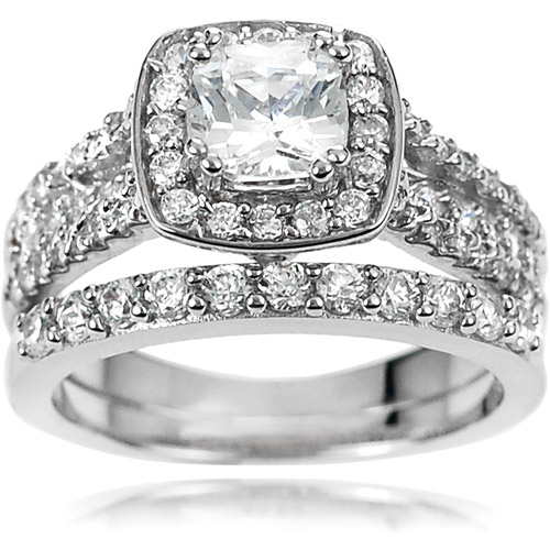 Alexandria Collection Women's Sterling Silver CZ Engagement Ring