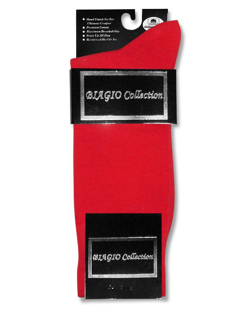 1 Pair of Biagio Solid RED Color Men's COTTON Dress SOCKS