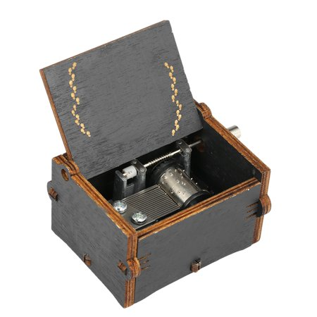 Vintage Wooden Theme Song Music Box Hand-operated Carved Engraving Music Case Creative Holiday Birthday Gifts for Kids Black - image 7 of 7