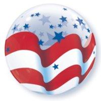 "Qualatex Patriotic Stars & Stripes Flag 22"" Bubble Balloon, Red White Blue"