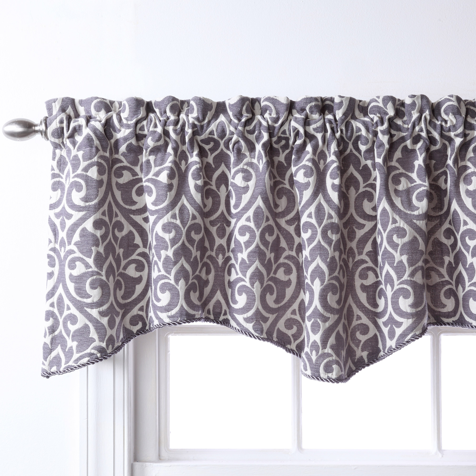 Gray And White Window Valance