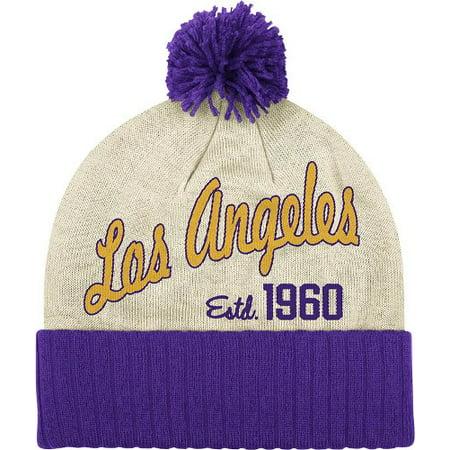 Los Angeles Lakers NBA Adidas Originals Throwback Retro Date Knit Hat w/ Pom