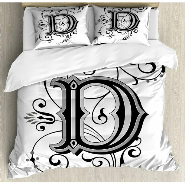 Letter D Duvet Cover Set Initial, Black Grey White Bedding Sets