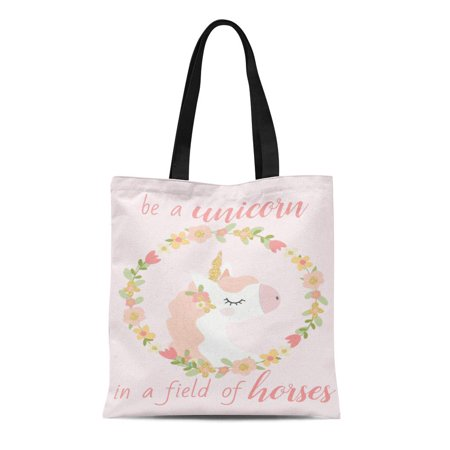 NUDECOR Canvas Tote Bag Pink Gold Be Unicorn in of Horses Girly Cute Reusable Handbag Shoulder Grocery Shopping Bags - image 1 of 1