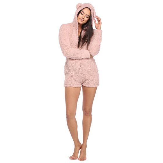 1506d6f1c2 UKAP - Warm Pajama Hooded Cute Rabbit Ear Fleece Women Soft Velvet Onesies  Jumpsuit Long Sleeve Shorts Sleepwear leisure Loungwear - Walmart.com