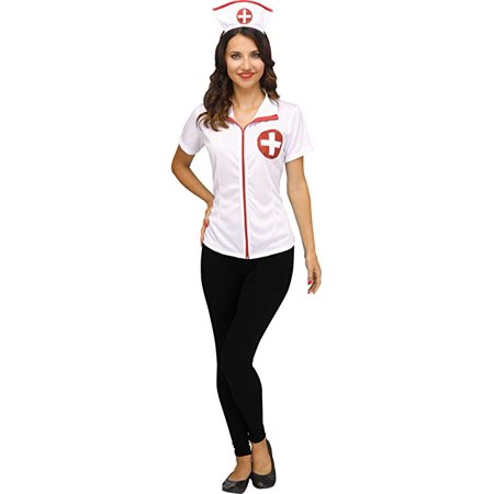Fun World Nurse Occupation for Halloween, School Acting, Costume Party, for Women Adult Size M 8/10 (1 Pack) (Halloween Party Decor Adults)