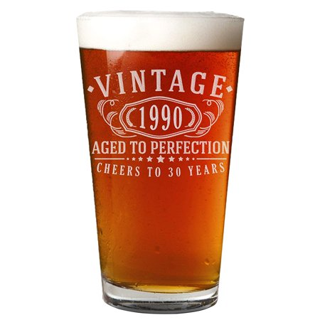 Vintage 1990 Etched 16oz Pint Beer Soda Glass - 30th Birthday Aged to Perfection - 30 years old gifts Vintage Old Style Beer