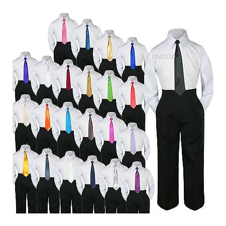 23 Color 3 pc Black Set Necktie Shirt Pants Boy Baby Toddler Kid Formal Suit S-7