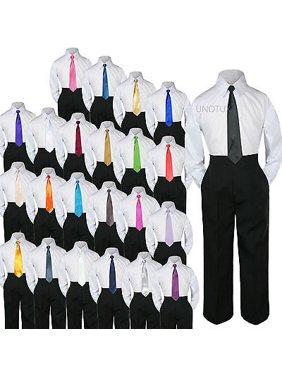 23 Color 3 pc Black Set Necktie Shirt Pants Boy Baby Toddler Kid Formal Suit S-7