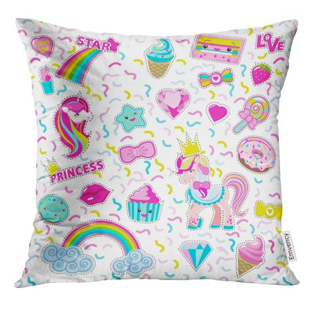 CMFUN Cut Out for Little Princess Rainbow Unicorn Cakes Ice Cream Lollipop Diamant Star Cassette in Magic Flat Pillow Case 16x16 Inches Pillowcase