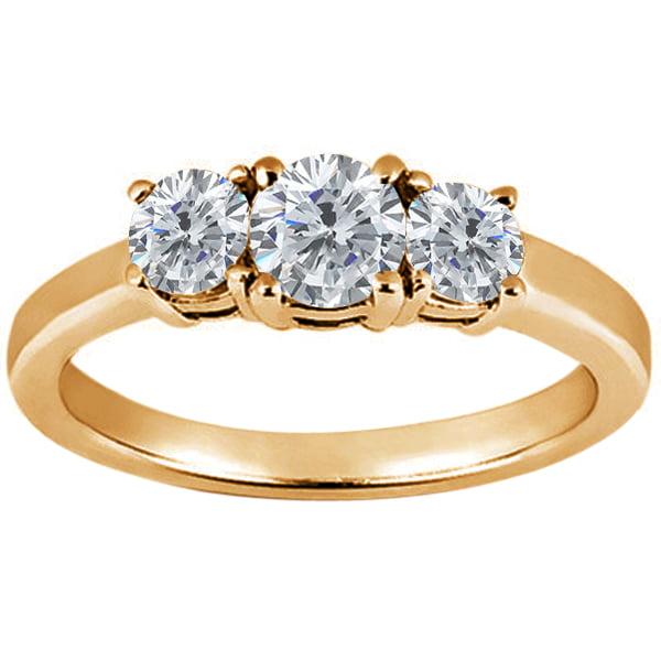 0.84 Ct Round H/I Diamond G/H Diamond 18K Yellow Gold Ring