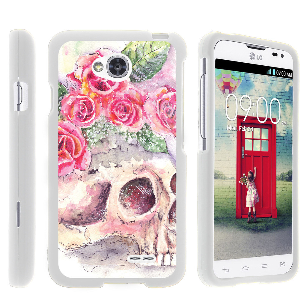 LG Optimus L70, Ultimate 2, Optimus Exceed, [SNAP SHELL][White] Hard White Plastic Case with Non Slip Matte Coating with Custom Designs - Flower Skull