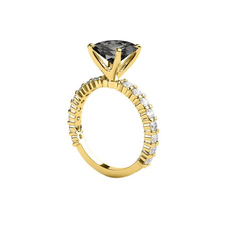 White Gold Diamond Designer Ring (1.90 CTW Black Diamond Ring 14K Yellow Gold Princess Cut Solitaire With Accents Designer )