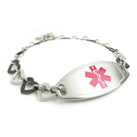 MyIDDr - COPD Lung Disease Womens Medical ID Bracelet, Steel & Black Hearts, Pre-Engraved - Lung Cancer Bracelets