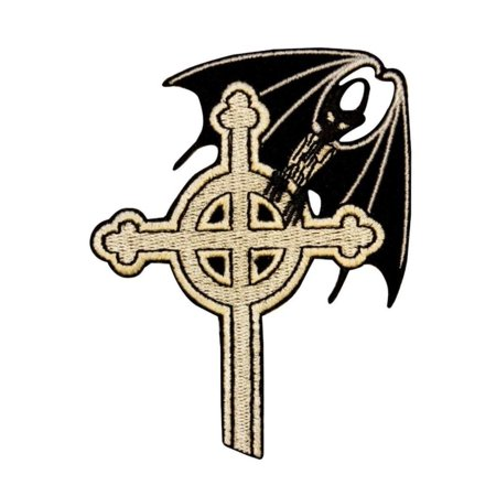 Bat On Celtic Cross Patch Gothic Punk Vampire Evil Embroidered Iron On -