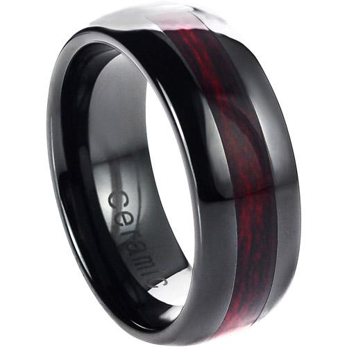 Daxx Men's Ceramic Burgundy Wood Inlay Ring