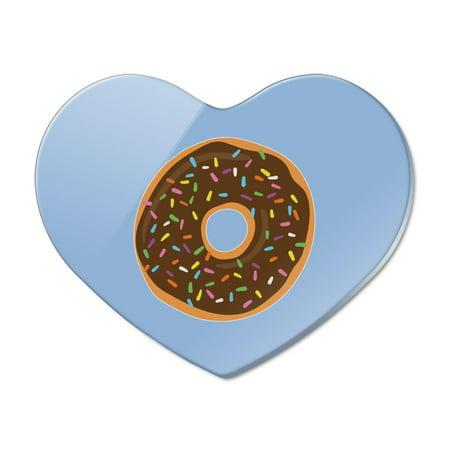 Chocolate Sprinkle Donut (Cute Donut with Sprinkles Chocolate Icing Heart Acrylic Fridge Refrigerator)