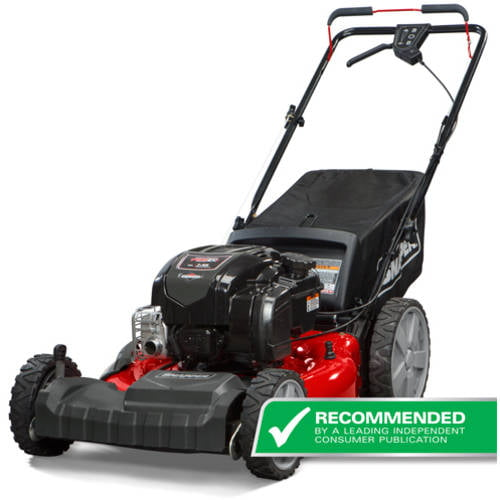 "Click here to buy Snapper 21"" Self Propelled Gas Mower with Side Discharge, Mulching, Rear Bag and Rear High Wheel."