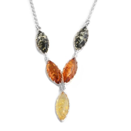 925 Sterling Silver Marquee Multi Color Amber Fashion Necklace for Women 16.5