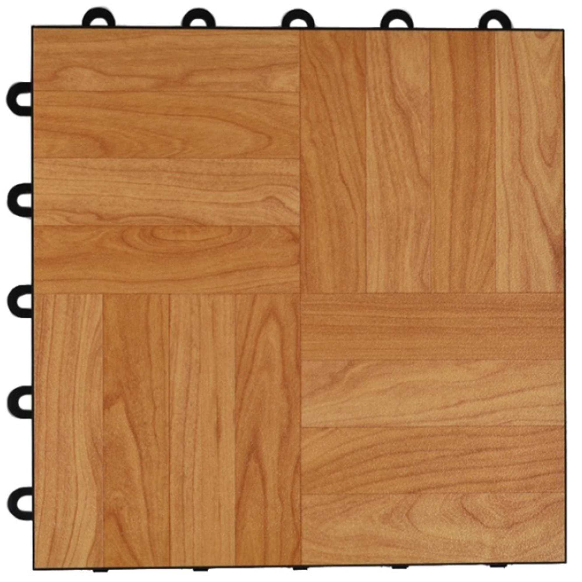 Greatmats Max Tile Vinyl Interlocking Raised Modular 1 ft. x 1 ft. x 5/8 in. Floor Tiles Light Oak 26 Pack