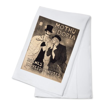 Kota Doria Cotton Saree - Mothu et Doria Vintage Poster (artist: Steinlen, Theophile Alexandre) France c. 1893 (100% Cotton Kitchen Towel)