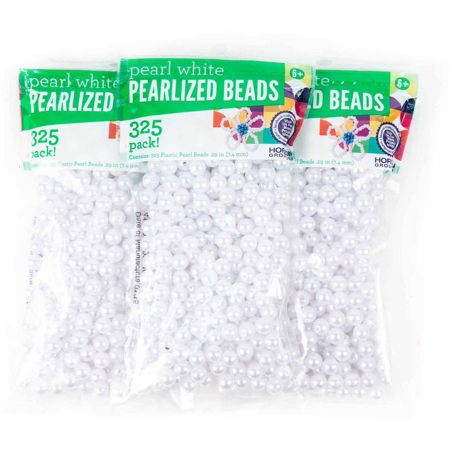 White Pearl Plastic Beads, 3PKS - 325 ct. Each by Horizon Group USA
