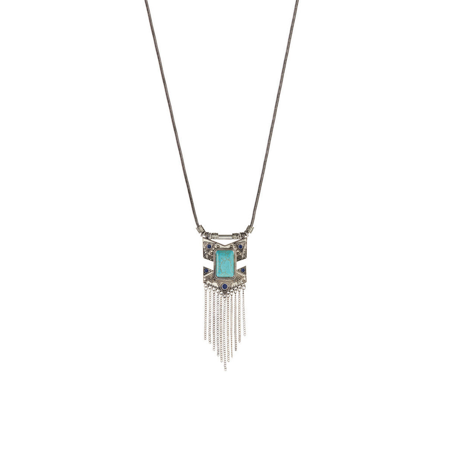 Turquoise Open Link (Lux Accessories Silvertone & Turquoise Arrow Chain Link Necklace )