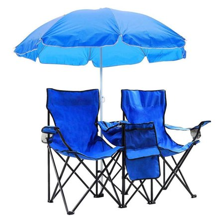 Zimtown Double Folding Chair With Removable Umbrella Table Cooler Bag Fold Up Steel Construction Dual Seat