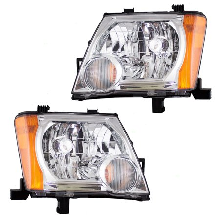 Nissan Xterra Replacement Headlight - BROCK Halogen Combination Headlamps Headlights w/ Chrome Bezels Pair Set Replacement for 05-15 Nissan Xterra 26060EA025 26010EA025