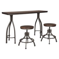 Signature Design By Ashley - Odium Rectangular Dining Room Counter Table Set of 3 - Casual Style - Brown
