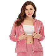 Women's Warm Velvet Zip Hoodie Sweatshirt Velour Track Jacket Jogger Activewear Red/Purple