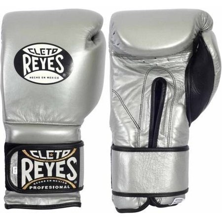 Cleto Reyes Hook and Loop Boxing Gloves, 16oz, Silver