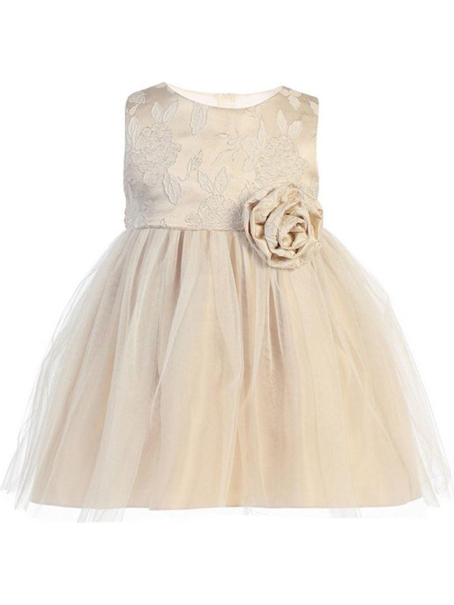 Baby Girls Beige Floral Jacquard Crystal Tulle Easter Dress