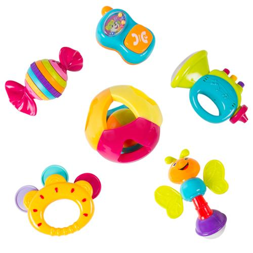6 Piece Baby Rattle Toy Gift Set with Mirror, Bells & Instruments