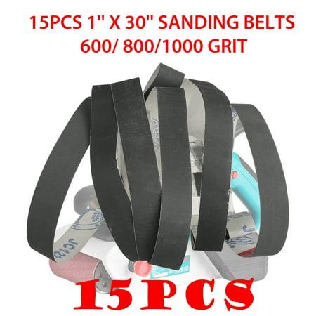 EEEKit 1 x 30 Inch Sanding Belts | 600/800/1000 Grit Aluminum Oxide Sanding Belt | Metal Polishing | Sandpaper for Portable Belt Sander – 15Pcs (Belt Sander 1 X 30)