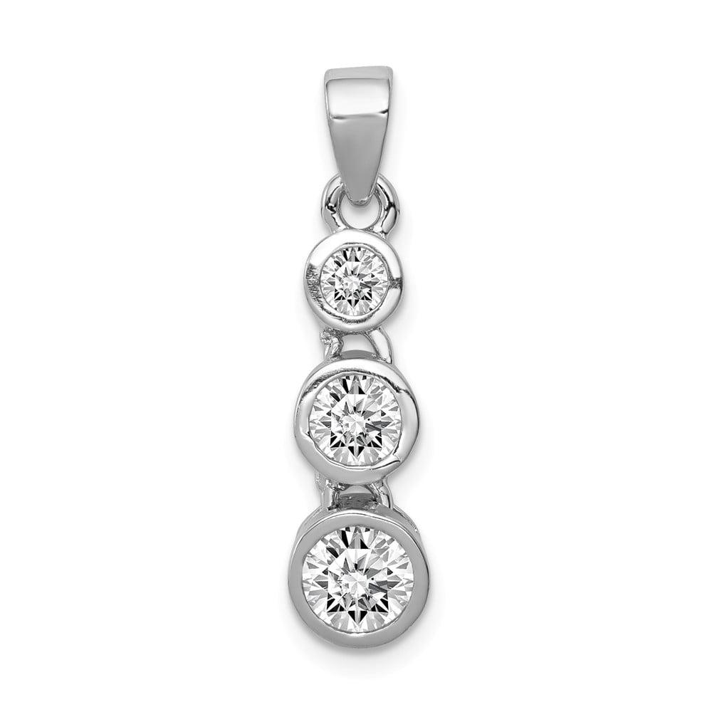 Sterling Silver Polished 3-Stone CZ Pendant.