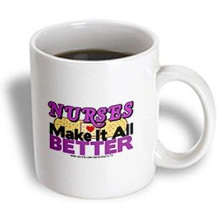 3dRose Nurses Make It All Better Purple, Ceramic Mug, 11-ounce