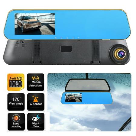 EEEkit Mirror Dash Cam Backup Camera 4.3'' TFT Screen, 1080P Dual Lens Smart Rear View Mirror for Cars & Trucks, 24H Parking Monitor with Night Vision & G-sensor, Loop Recording