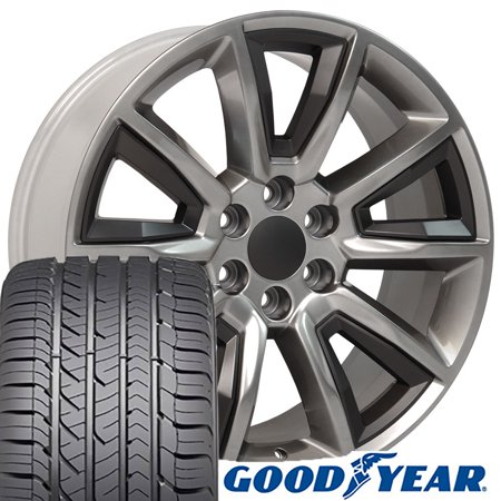 - 22x9 Wheels & Tires fit GMC Chevy Trucks and SUVs - Chevrolet Tahoe Style Satin Black Insert Hyper Black Rims and Goodyear Tires, Hollander 5696 - SET
