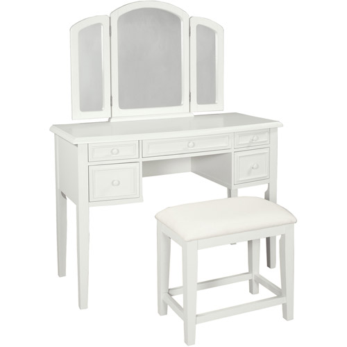 Powell Vanity with Tri-Fold Mirror and Bench, Multiple Colors