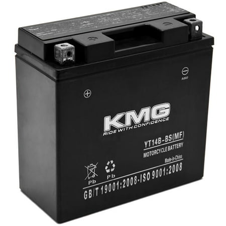 KMG YT14B-BS Battery For Yamaha 1100 XVS1100 V-Star (All) 1999-2010 Sealed Maintenace Free 12V Battery High Performance SMF OEM Replacement Powersport Motorcycle ATV Snowmobile Watercraft (Battery Water)