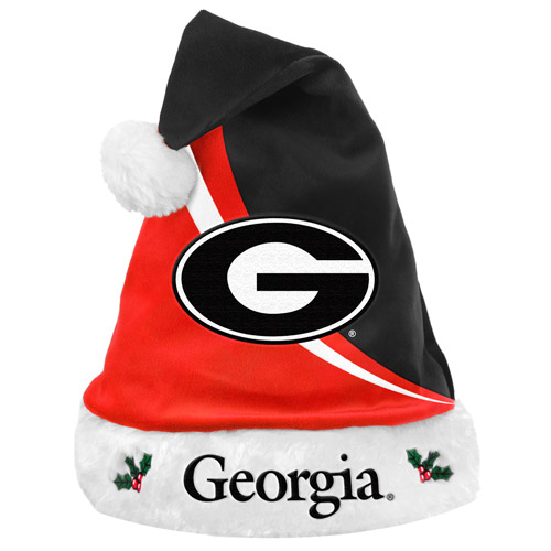 Forever Collectibles NCAA Swoop Logo Santa Hat, University of Georgia Bulldogs