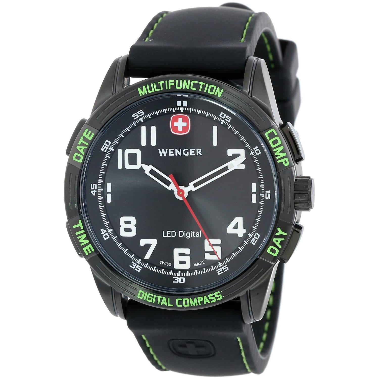 Wenger 70433 43mm  Stainless Steel Case Black Silicone Sy...